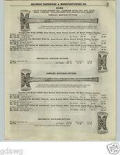 1922 PAPER AD Blue Grass Axe Axes Double Bit Western Fireman's Shipping Crate
