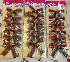 (3) Six Packs Red/Gr. Plaid Bows with Little Gold Bells, Gold Twist Ties on Back