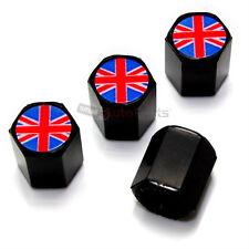 (4) British Flag Logo Black Tire/Wheel Air Pressure Stem Valve CAPS Covers
