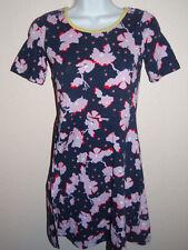 Girl's Navy Lilac Short Sleeve Cotton Dress Size L(14) SALE