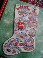 Christmas Bucilla Counted Cross Holiday Stocking KIT,SNOW DOMES,84098,Gillum,18""