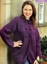 KNITTING PATTERN LADIES 86-96cm FLARED SWING-STYLE COAT EASY L/SLEEVED KTM A5A