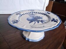 "Beautiful ITALIAN CERAMIC Serving Plate ""Grenade"" Blue Original Fruits, Footed"