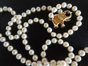 Perlenkette mit 585 Gold Verschluss Elefant  schwer edel 49 cm 12,9 Gramm