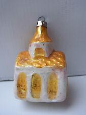 Weihnachtsschmuck Christbaumschmuck Kirche Gelb Silber Weiß Church Glas Lauscha