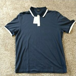 Theory Short Sleeve Ribbed Polo Size Xlarge Air Force Navy