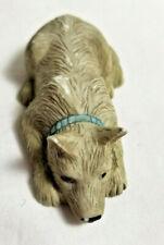 "Tiny Terrier Puppy Dog Pet Porcelain Lying Figurine 3"" long Grey Black"