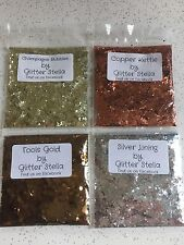 Nail Art Mixed Glitter 4 X 5g Bags Metallic Chunky Silver Champagne Copper Gold