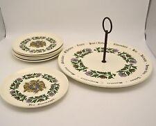 Gien Cheese Set Serving Platter & 6 Plates Les Fromages France Vintage 70s EUC