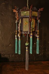 Chinese Hanging Lantern Vintage Ceiling Light Painted Glass & Rosewood