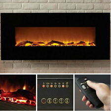 """Black Electric Fireplace 50"""" Wall Mount Timer Remote LED Adjustable Flame & Heat"""