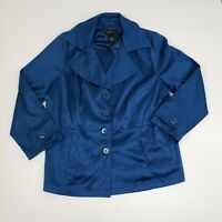 Lane Bryant Women's Blue Business Casual Work Blazer Coat Buttons Ladies 24