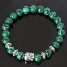 Natural Malachite Stone Beads Bangle Sliver Buddha Energy Stone Yoga Bracelet SI