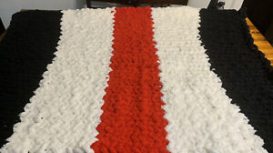 Chunky Hand-Knit Reading Blanket Throw Black, Red And Ivory Chenille Custom