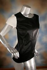 NWT $215 David Lerner Tee - Leather and Jersey Blouse Top Sz XS 0 2