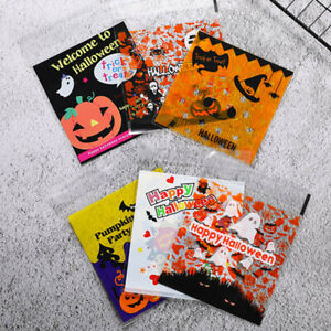 100 X Halloween Cellophane Bags Ghost Transparent Plastic Cookie Gift Pouch