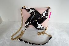 Betsey Johnson Kitch Pinwheel Pink & Black Animal Spot Cross Body New 65% OFF
