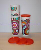 Tupperware Mayan Sunset Straight Edge 16oz Tumblers Flat Seals Set of 4 New