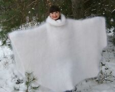 Sweater Turtle nec PONCHO  mohair Longhair 100% Goat Down Cashmere fuzzy fluffy