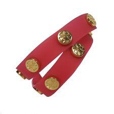 TORY BURCH bracelet rubber Jelly logo double studded wrap Pink