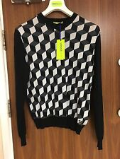 VERSACE JEANS BLACK & WHITE GEOMETRIC KNIT JUMPER SWEATER SIZE S RRP £229