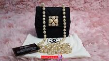RARE CHANEL VINTAGE Grosgrain Crystal EMBELLISHED Pearl Strap Flap Bag Gold HW