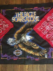 "Vtg Red Elephant + Harley Davidson Handkerchief  ""Eagle Soars Alone""Bandana Lot"