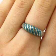 Vtg Mexico 925 Sterling Silver Turquoise Gem Inlay Linear Design Ring Size 6