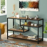 4 Tier Vintage Brown Media TV Stand with Open Shelf Multi-function Console Table