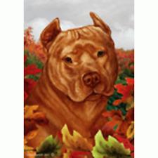 Fall Garden Flag - Orange American Pit Bull Terrier 134061
