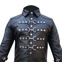 Mens Real Black Sheep Leather Police Style Uniform Shirt BLUF Gay Men