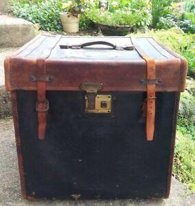 "Antique Leather Steamer Travel Trunk, Linen Interior European Decals 18"" Square"