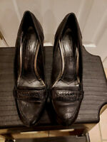 Antonio Melani Pumps Heels Black Loafer Leather Women's Shoe Size 9.5M FAST SHIP