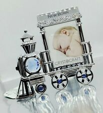 New Born Baby Train Picture Frame Gift Shower Present Blue Swarovski Crystals