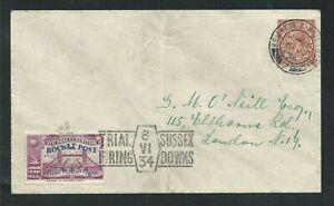 1934 GREAT BRITAIN rocket mail cover - SUSSEX DOWNS - purple stamp - EZ 2C1