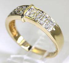 Diamond wedding band ring yellow gold 16 round brilliants 2 row .45CT size 7 3/4