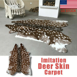 Faux Fur Sika Deer Print Area Rug Animal Skin Hide Pelt Mat Carpet Home Decor