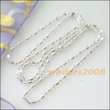 4 New Necklace Ball Bamboo Chains 1.5mm beads w/connector 50cm