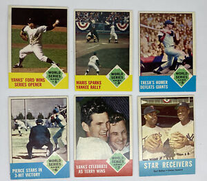 1963 Topps New York Yankees World Series 6 Card Lot Raw Ungraded Roger Maris