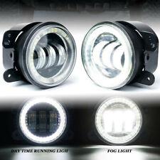 4 Round Cree Led Fog Light Halo Driving Lamp For Jk Tj Jeep Wrangler 2007 2018