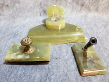 Art Deco Green Onyx Inkwell Desk Set