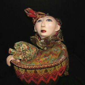 """Original Genuine Hand Painted & Crafted Folk Art Gourd Puppet 24"""" x 10"""" Signed"""