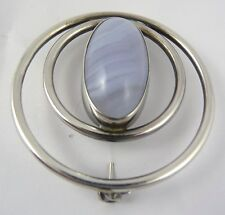 Scottish 1960's Ola Gorie Silver Striped Agate Brooch Pin Boxed