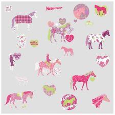 HORSES 44 BiG Wall Stickers Girls Room Decor Decals Kids HEARTS Polka Dots Pony