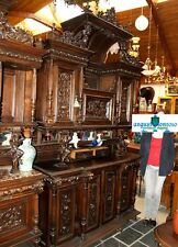 ANTIQUE DINING ROOM SET 5 P FURNITURE RENAISSANCE XVII TH CARVED WOODEN WALNUT