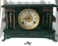 ANTIQUE Victorian SESSIONS EIGHT DAY MANTEL CLOCK Wood Case Gong