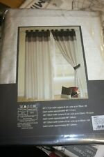 """Pair Of Cannes Faux Silk Curtains Eyelet Top Lined  66 x 72"""" Beige Plum New 4332"""