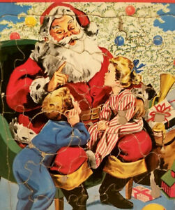 Vintage 1950s Santa + Children Christmas Jigsaw Puzzle Saalfield Pub Orig Frame
