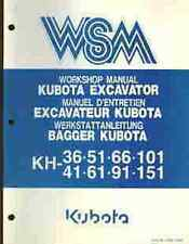 KUBOTA EXCAVATOR KH36 KH41 KH51 KH61 KH66 KH91 KH101 KH151 WORKSHOP MANUAL