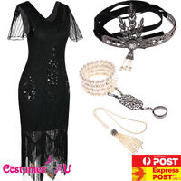 Ladies 20s 1920s Roaring Black Flapper Costume Sequin Gatsby 1920's Fancy Dress